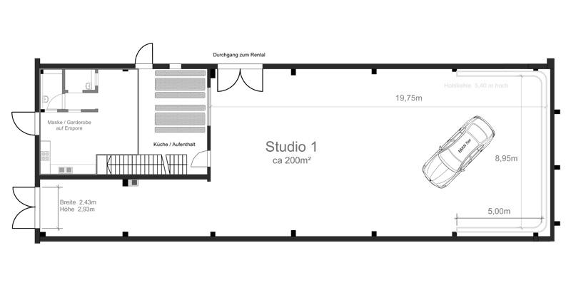 TMT Studio 1 mit 250m² im Grundriss