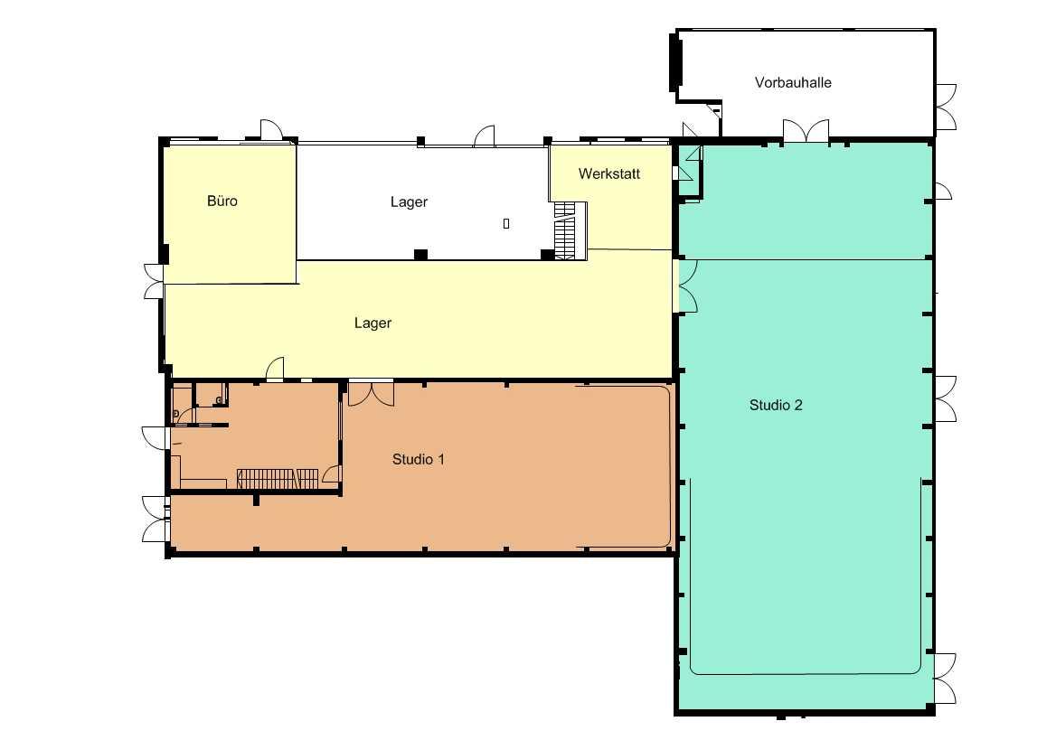 TMT Fimstudios Studio 1 und Studio 2 im Grundriss
